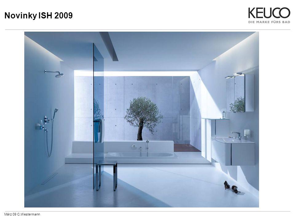 Novinky ISH 2009 51683Hlavová sprcha G 1/2 se sprchovým ramenem 300/ 450 mm talířová sprcha Ø 180 mm März 09 C.Westermann