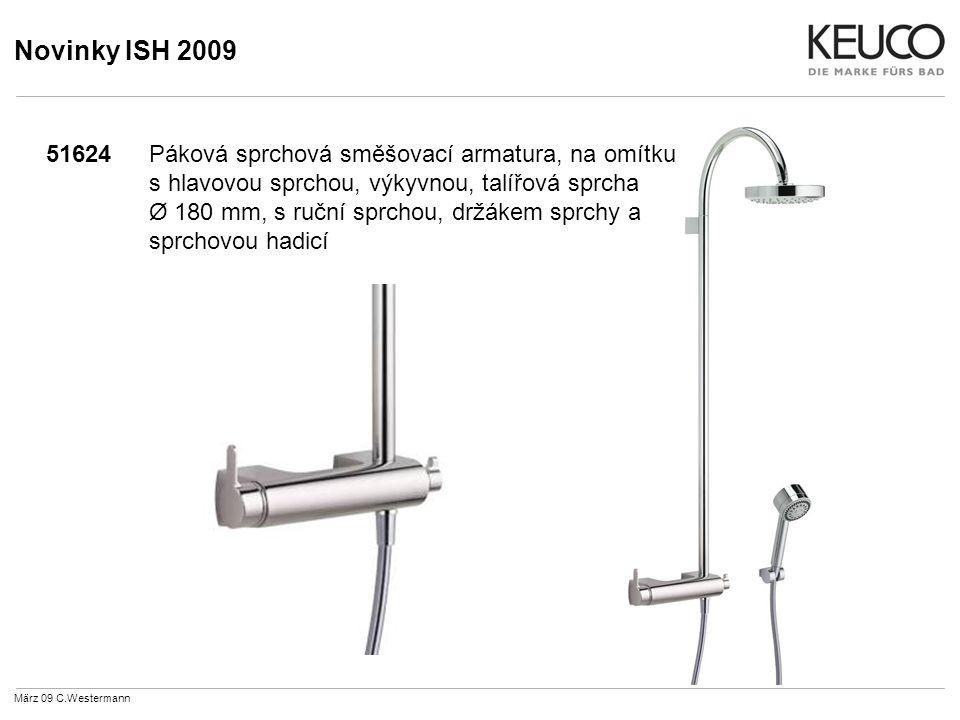 Novinky ISH 2009 51624Páková sprchová směšovací armatura, na omítku s hlavovou sprchou, výkyvnou, talířová sprcha Ø 180 mm, s ruční sprchou, držákem sprchy a sprchovou hadicí März 09 C.Westermann
