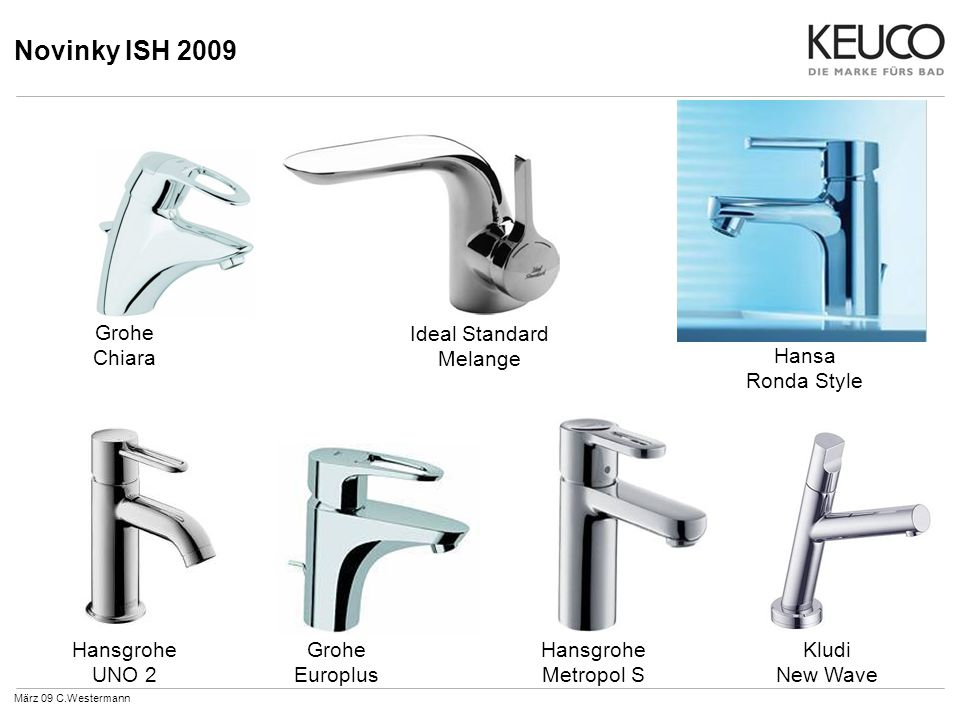 Novinky ISH 2009 März 09 C.Westermann Hansa Ronda Style Hansgrohe Metropol S Hansgrohe UNO 2 Kludi New Wave Ideal Standard Melange Grohe Chiara Grohe Europlus