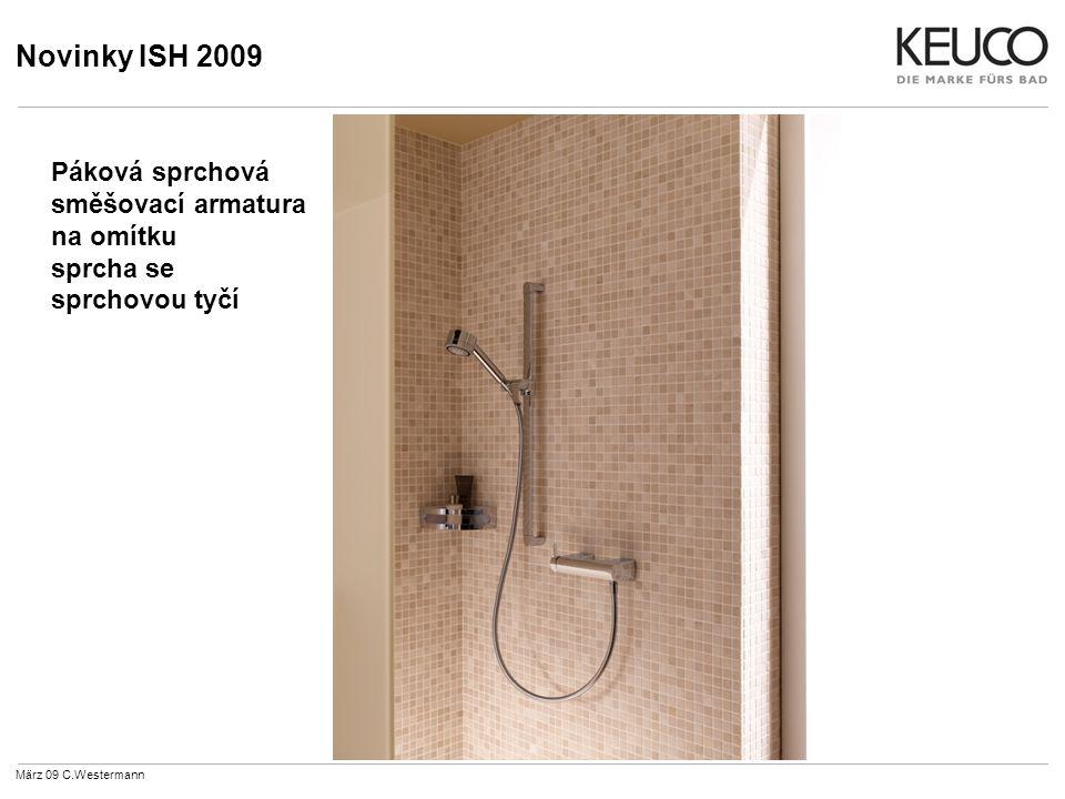 Novinky ISH 2009 März 09 C.Westermann Termostat pod omítku, s hlavovou a ruční sprchou