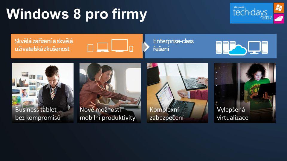 Windows 8 pro firmy Devices & Experiences Users Want Enterprise-Grade Solutions Enterprise-class řešení Skvělá zařízení a skvělá uživatelská zkušenost