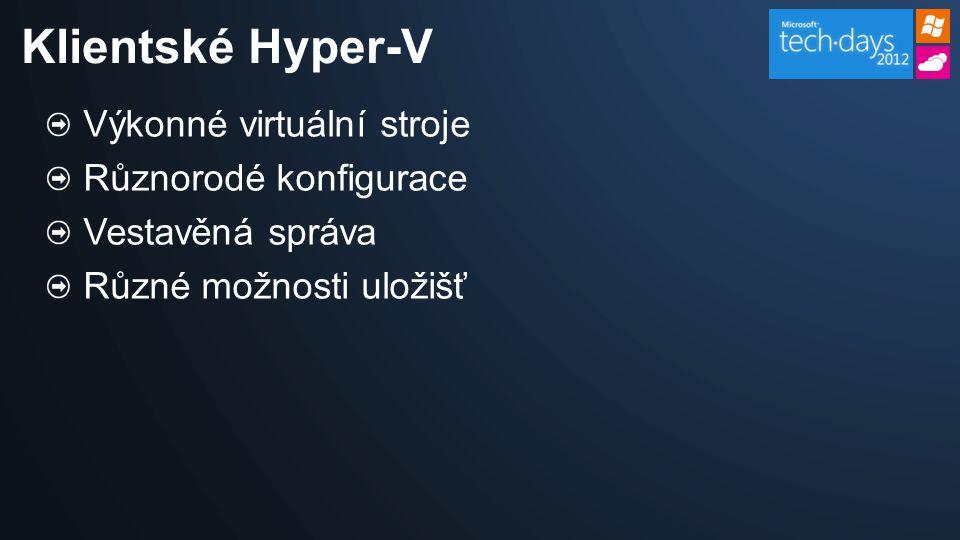 Výkonné virtuální stroje Různorodé konfigurace Vestavěná správa Různé možnosti uložišť Klientské Hyper-V