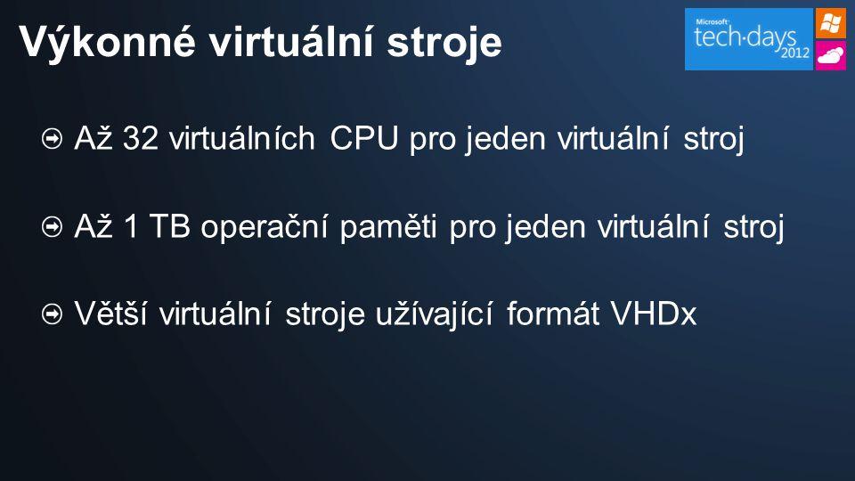 Až 32 virtuálních CPU pro jeden virtuální stroj Až 1 TB operační paměti pro jeden virtuální stroj Větší virtuální stroje užívající formát VHDx Výkonné virtuální stroje