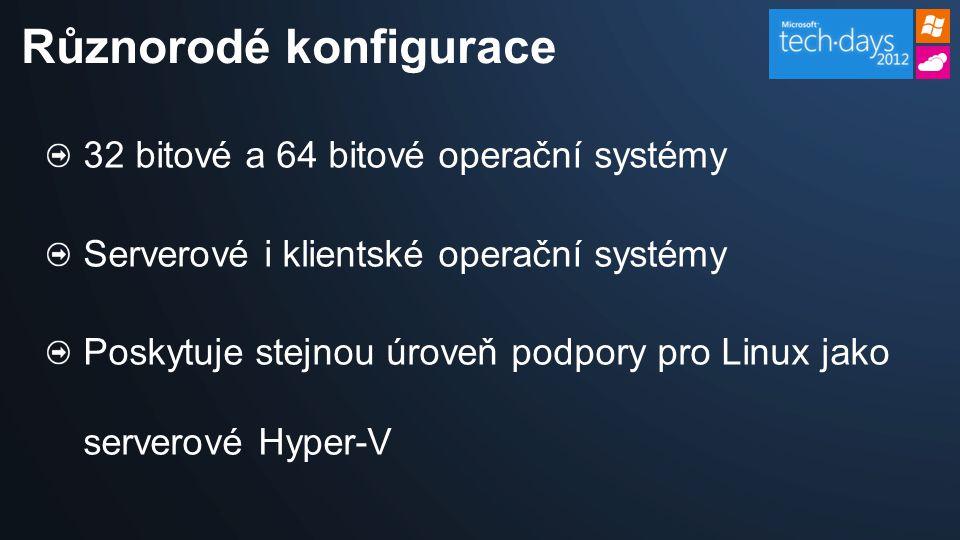 32 bitové a 64 bitové operační systémy Serverové i klientské operační systémy Poskytuje stejnou úroveň podpory pro Linux jako serverové Hyper-V Různorodé konfigurace