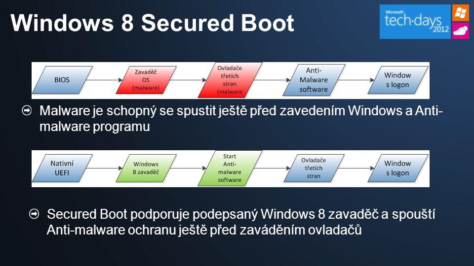 Malware je schopný se spustit ještě před zavedením Windows a Anti- malware programu Windows 8 Secured Boot Secured Boot podporuje podepsaný Windows 8 zavaděč a spouští Anti-malware ochranu ještě před zaváděním ovladačů