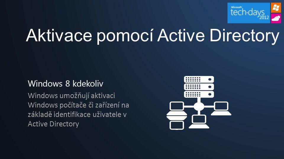 Aktivace pomocí Active Directory Windows 8 kdekoliv Windows umožňují aktivaci Windows počítače či zařízení na základě identifikace uživatele v Active Directory