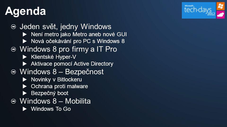 Windows To Go Windows 8 kdekoliv Umožňuje společnostem poskytnout řízené korporátní prostředí na USB disku, který nabídne uživatelům pracovat z různých řízených i neřízených počítačů.