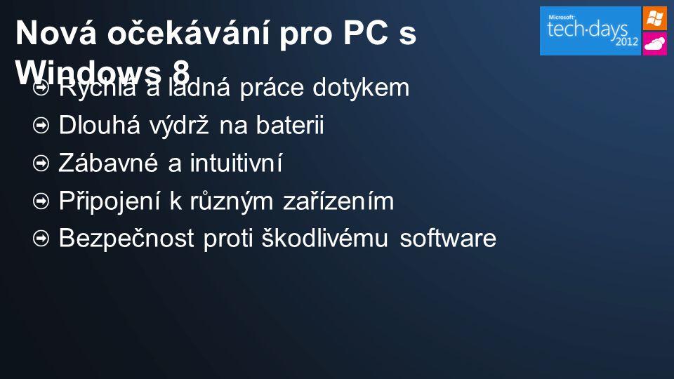 Rychlá a ladná práce dotykem Dlouhá výdrž na baterii Zábavné a intuitivní Připojení k různým zařízením Bezpečnost proti škodlivému software Nová očekávání pro PC s Windows 8