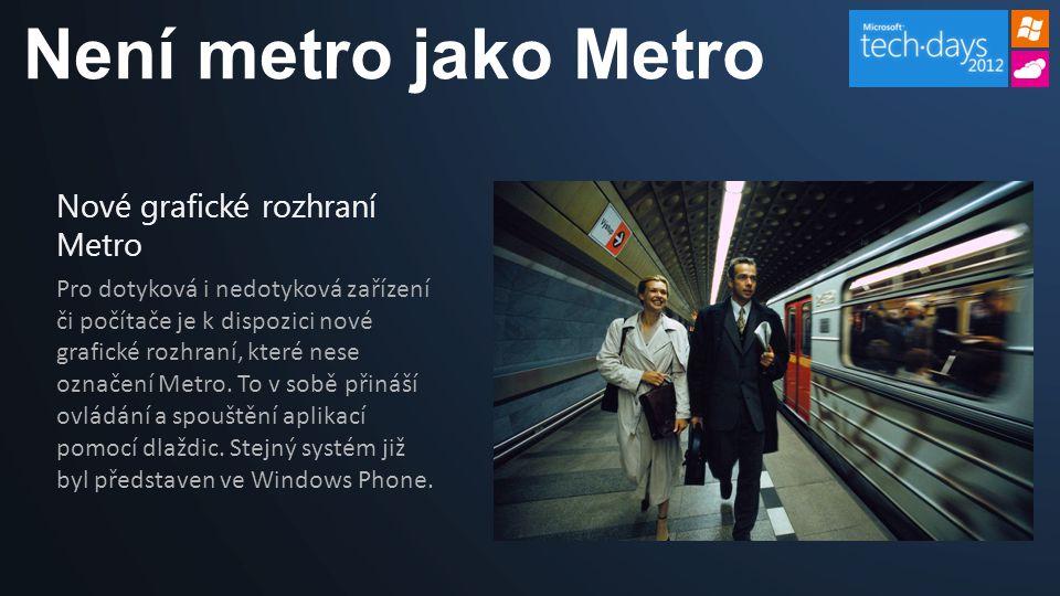 Není metro jako Metro Nové grafické rozhraní Metro Pro dotyková i nedotyková zařízení či počítače je k dispozici nové grafické rozhraní, které nese označení Metro.