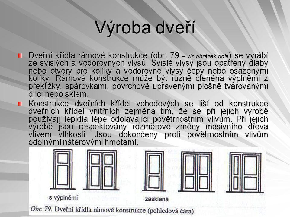 Výroba dveří Dveřní křídla rámové konstrukce (obr.