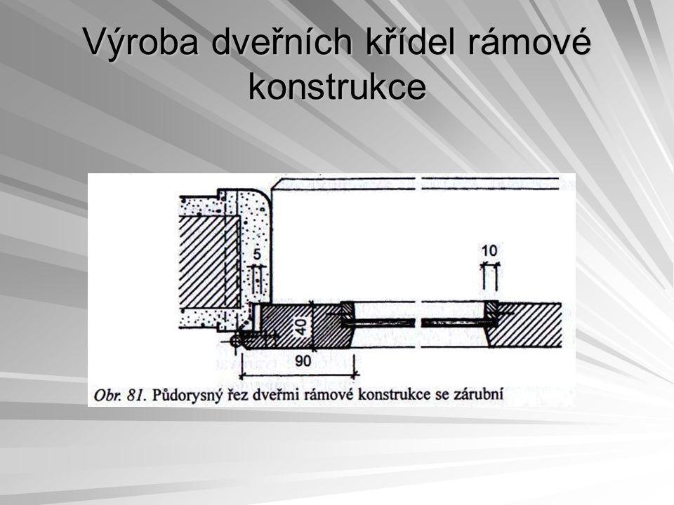 Výroba dveřních křídel rámové konstrukce Mezi jednotlivými nánosy se musí dveřní křídla přebrousit brusným papírem zrnitosti 100 až 120.