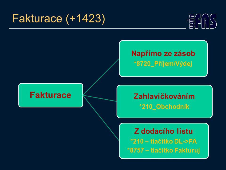 Fakturace (+1423) Fakturace Napřímo ze zásob *8720_Příjem/Výdej Zahlavičkováním *210_Obchodník Z dodacího listu *210 – tlačítko DL->FA *8757 – tlačítko Fakturuj