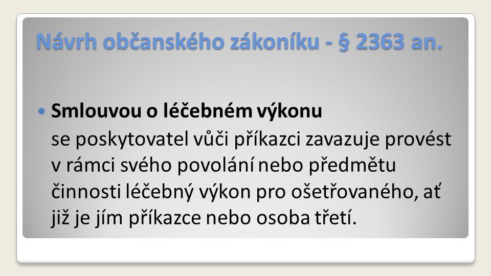 Návrh občanského zákoníku - § 2363 an.