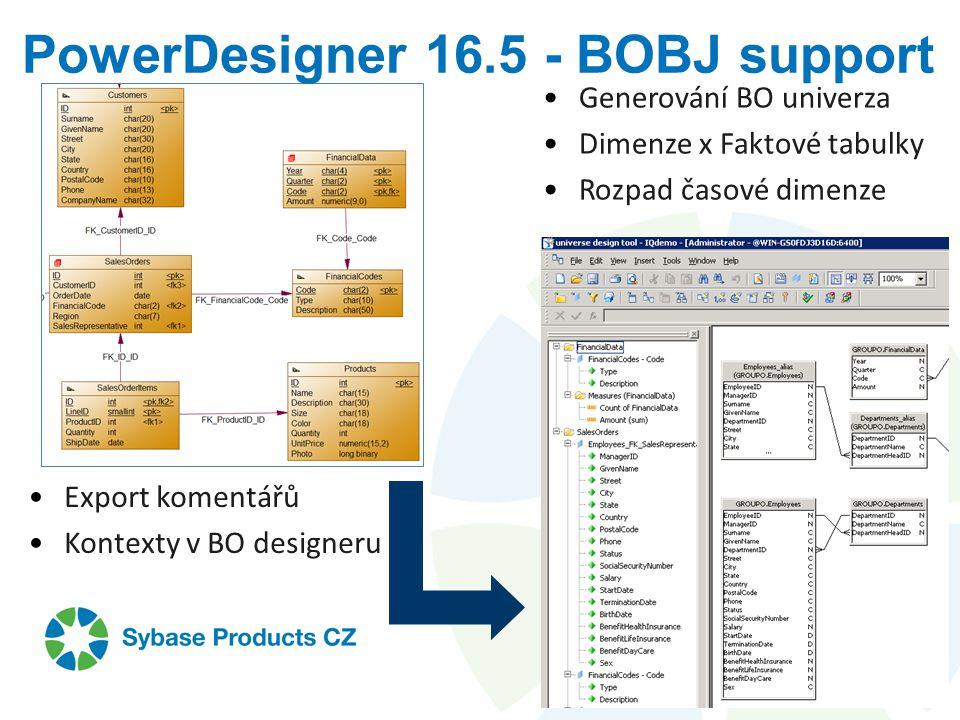PowerDesigner 16.5 - BOBJ support Generování BO univerza Dimenze x Faktové tabulky Rozpad časové dimenze Export komentářů Kontexty v BO designeru