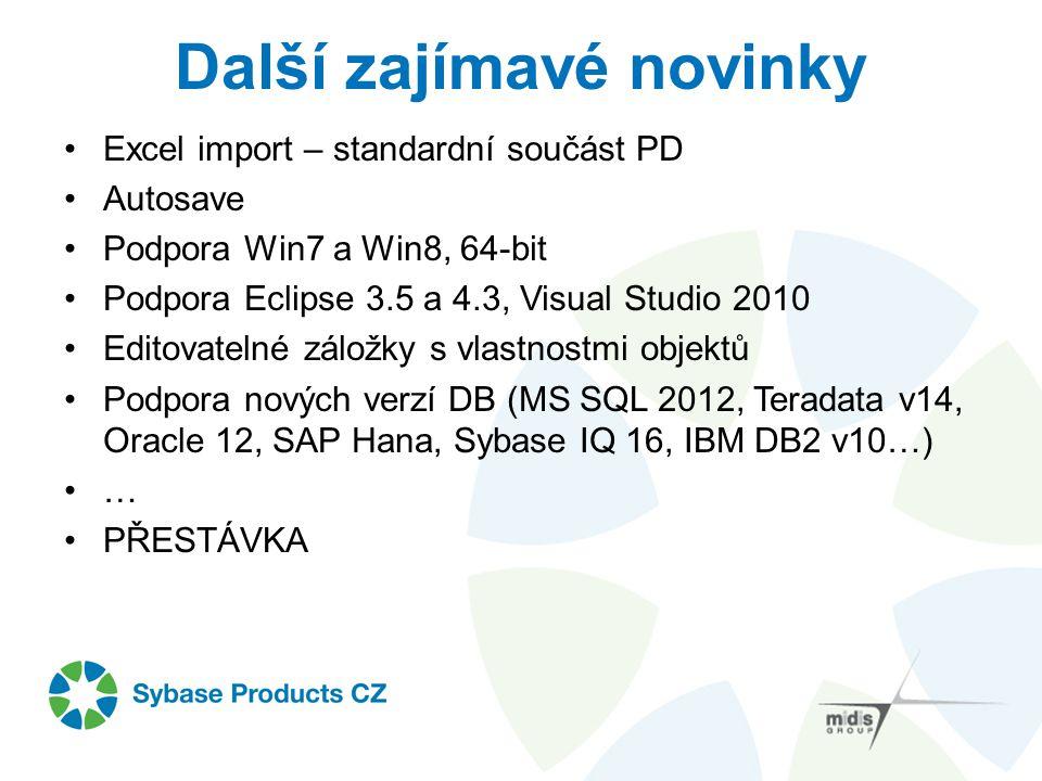 Další zajímavé novinky Excel import – standardní součást PD Autosave Podpora Win7 a Win8, 64-bit Podpora Eclipse 3.5 a 4.3, Visual Studio 2010 Editova