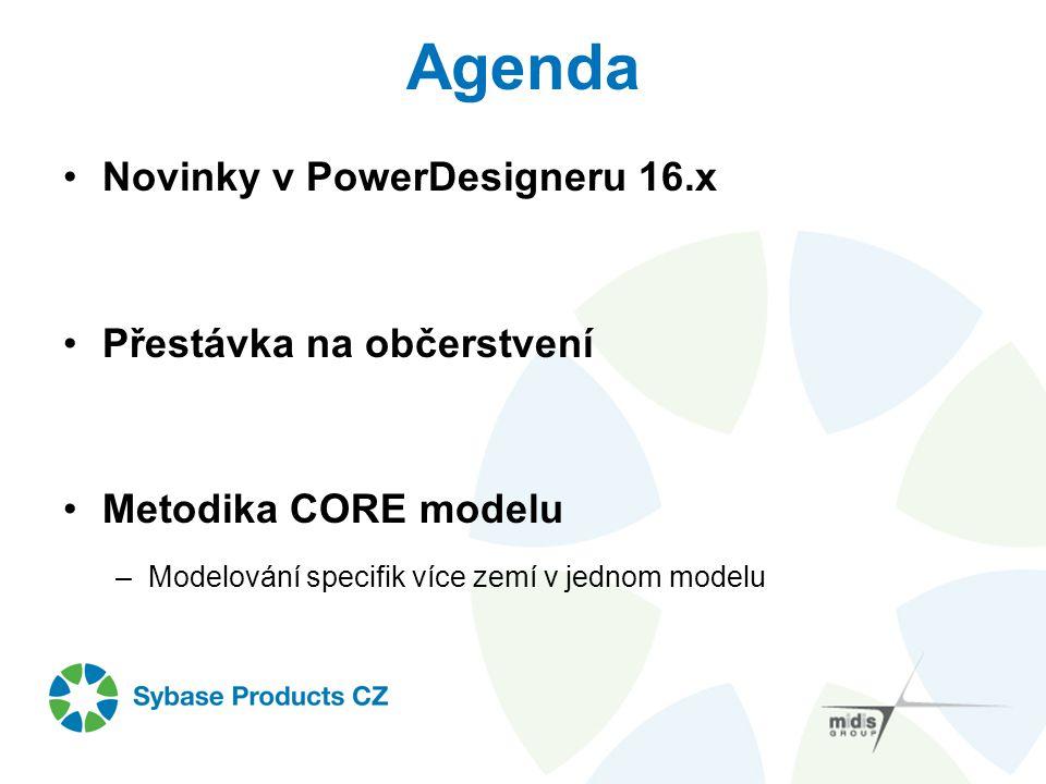 Agenda Novinky v PowerDesigneru 16.x Přestávka na občerstvení Metodika CORE modelu –Modelování specifik více zemí v jednom modelu