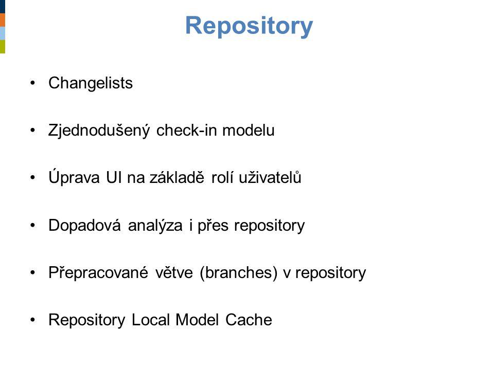 Repository Changelists Zjednodušený check-in modelu Úprava UI na základě rolí uživatelů Dopadová analýza i přes repository Přepracované větve (branche