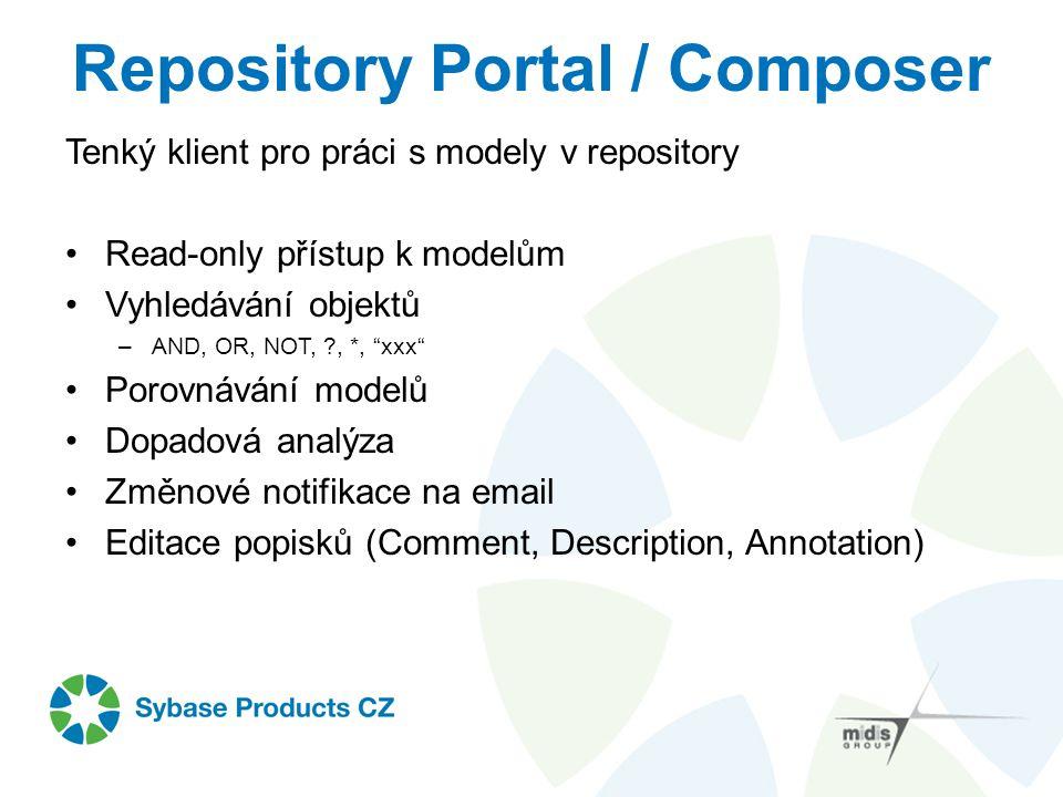 """Repository Portal / Composer Tenký klient pro práci s modely v repository Read-only přístup k modelům Vyhledávání objektů –AND, OR, NOT, ?, *, """"xxx"""" P"""