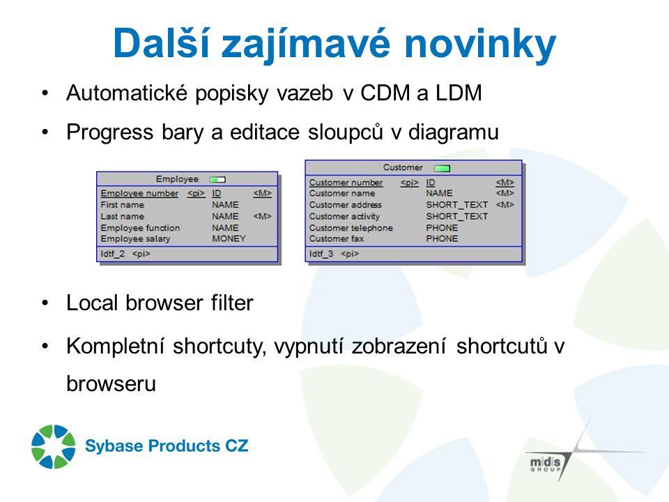 Další zajímavé novinky Automatické popisky vazeb v CDM a LDM Progress bary a editace sloupců v diagramu Local browser filter Kompletní shortcuty, vypn