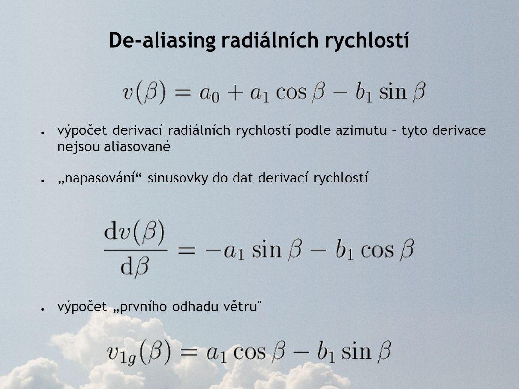 """● výpočet derivací radiálních rychlostí podle azimutu – tyto derivace nejsou aliasované ● """"napasování"""" sinusovky do dat derivací rychlostí ● výpočet """""""