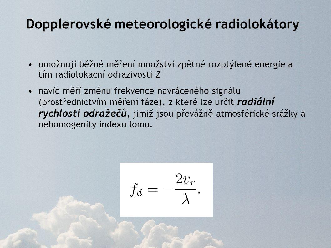 Dopplerovské meteorologické radiolokátory umožnují běžné měření množství zpětné rozptýlené energie a tím radiolokacní odrazivosti Z navíc měří změnu f