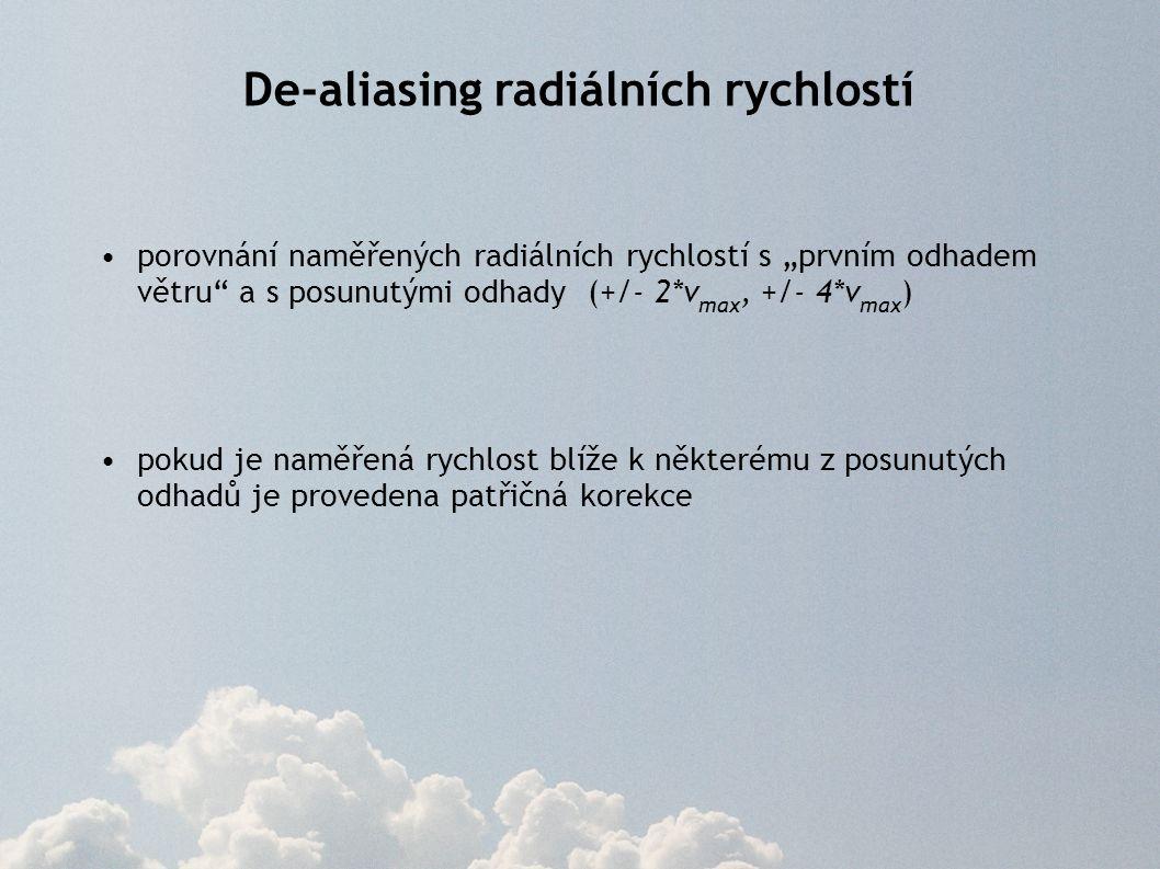 """porovnání naměřených radiálních rychlostí s """"prvním odhadem větru"""" a s posunutými odhady (+/- 2*v max, +/- 4*v max ) pokud je naměřená rychlost blíže"""