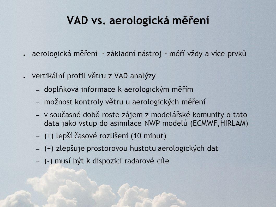 VAD vs. aerologická měření ● aerologická měření - základní nástroj – měří vždy a více prvků ● vertikální profil větru z VAD analýzy – doplňková inform