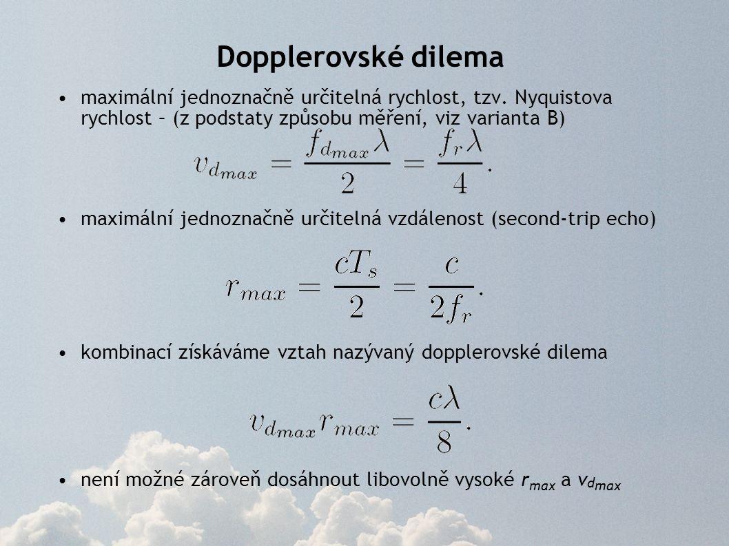 Dopplerovské dilema maximální jednoznačně určitelná rychlost, tzv. Nyquistova rychlost – (z podstaty způsobu měření, viz varianta B) maximální jednozn