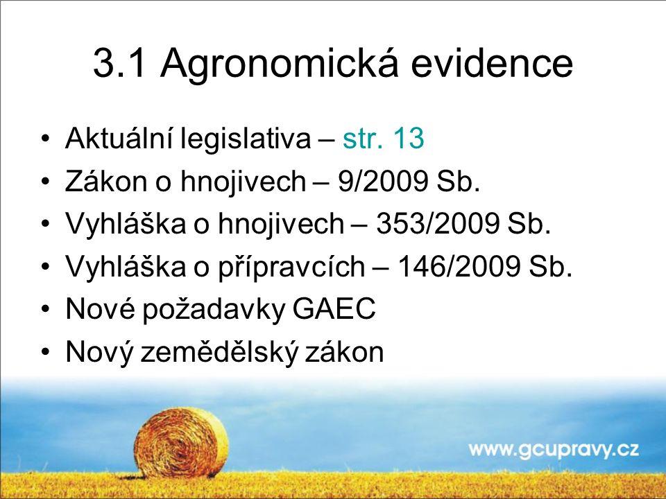 3.1 Agronomická evidence Aktuální legislativa – str.