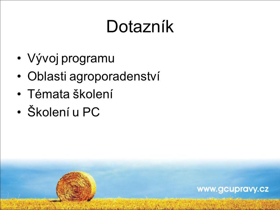 Dotazník Vývoj programu Oblasti agroporadenství Témata školení Školení u PC