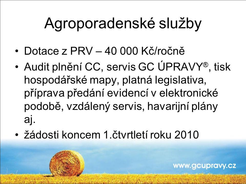 Agroporadenské služby Dotace z PRV – 40 000 Kč/ročně Audit plnění CC, servis GC ÚPRAVY ®, tisk hospodářské mapy, platná legislativa, příprava předání evidencí v elektronické podobě, vzdálený servis, havarijní plány aj.