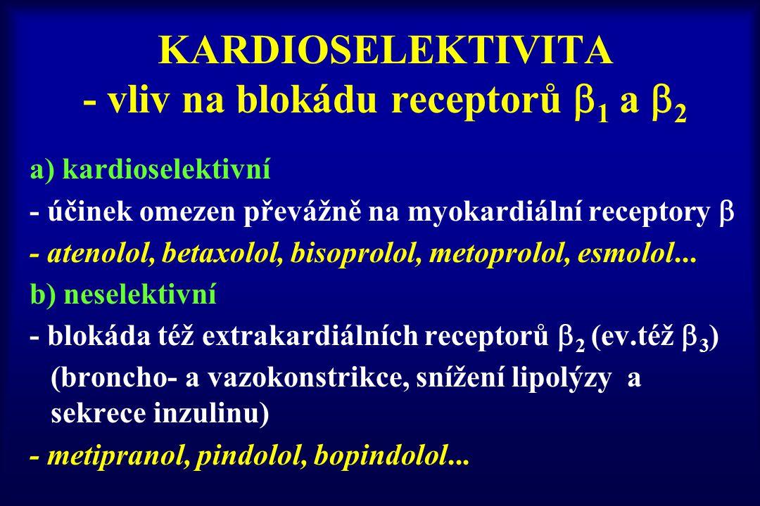 KARDIOSELEKTIVITA - vliv na blokádu receptorů  1 a  2 a) kardioselektivní - účinek omezen převážně na myokardiální receptory  - atenolol, betaxolol