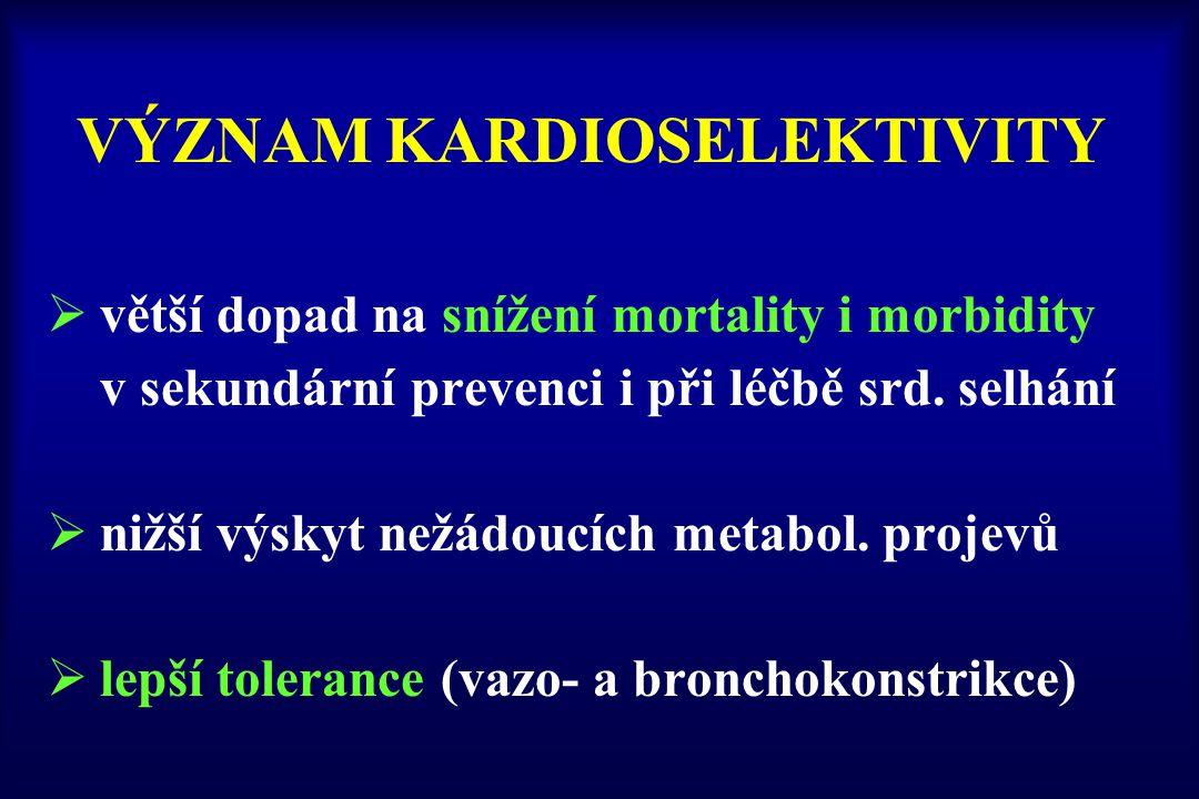 VÝZNAM KARDIOSELEKTIVITY  větší dopad na snížení mortality i morbidity v sekundární prevenci i při léčbě srd. selhání  nižší výskyt nežádoucích meta