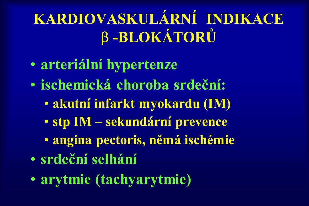 KARDIOVASKULÁRNÍ INDIKACE  -BLOKÁTORŮ arteriální hypertenze ischemická choroba srdeční: akutní infarkt myokardu (IM) stp IM – sekundární prevence ang