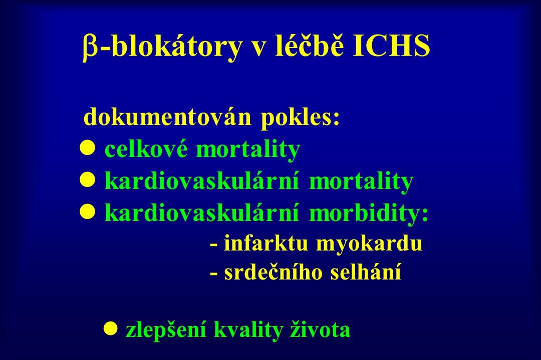  -blokátory v léčbě ICHS dokumentován pokles: l celkové mortality l kardiovaskulární mortality l kardiovaskulární morbidity: - infarktu myokardu - sr