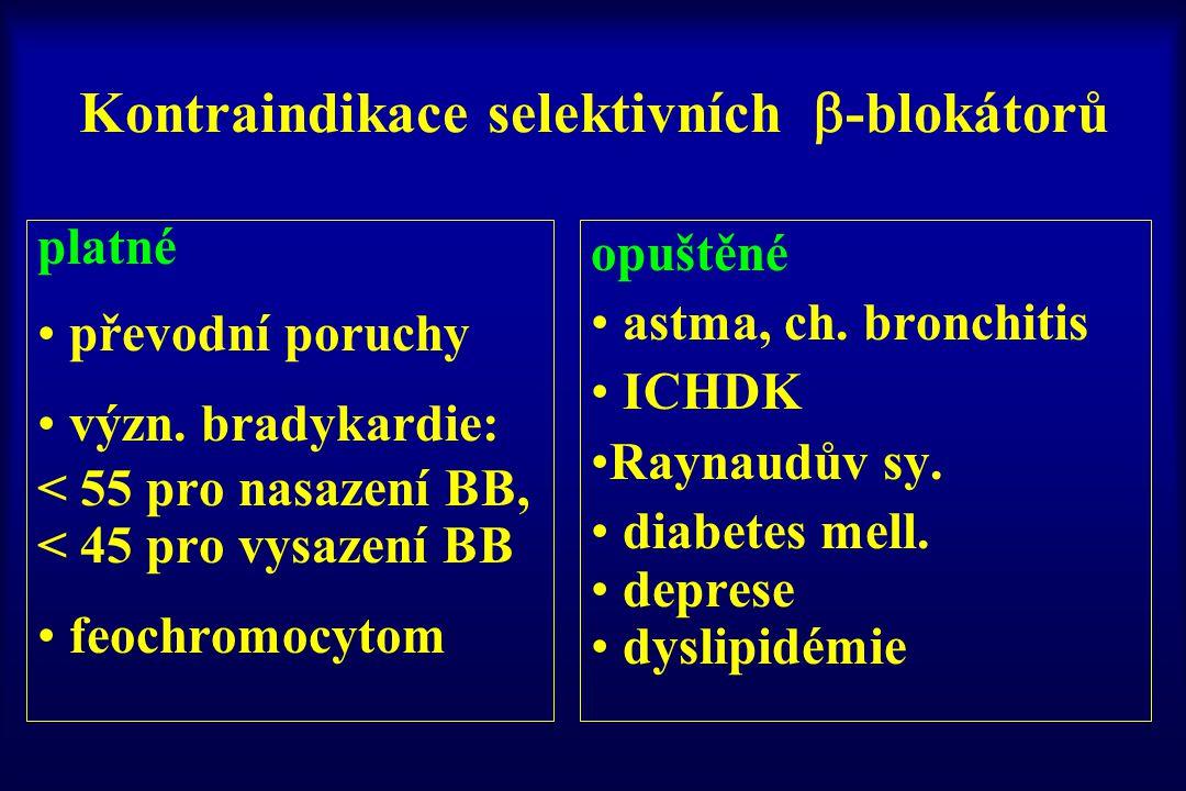 Kontraindikace selektivních  -blokátorů platné převodní poruchy význ. bradykardie: < 55 pro nasazení BB, < 45 pro vysazení BB feochromocytom opuštěné