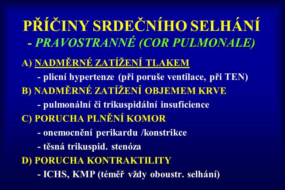 (COR PULMONALE) PŘÍČINY SRDEČNÍHO SELHÁNÍ - PRAVOSTRANNÉ (COR PULMONALE) A) NADMĚRNÉ ZATÍŽENÍ TLAKEM - plicní hypertenze (při poruše ventilace, při TE