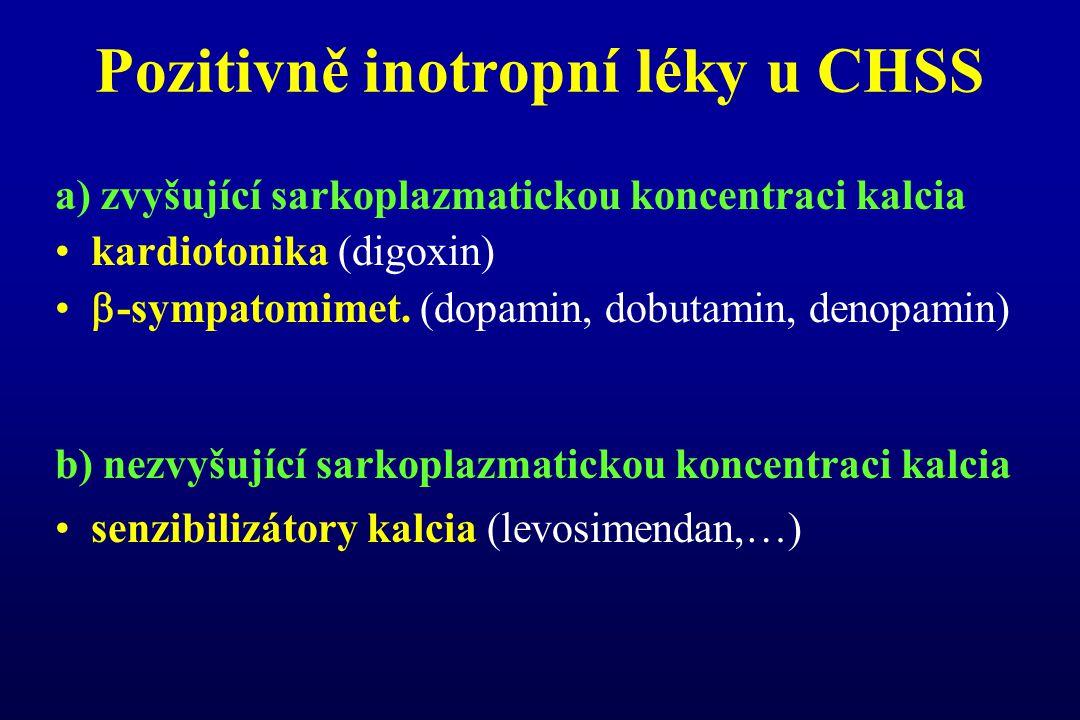 Pozitivně inotropní léky u CHSS a) zvyšující sarkoplazmatickou koncentraci kalcia kardiotonika (digoxin)  -sympatomimet. (dopamin, dobutamin, denopam