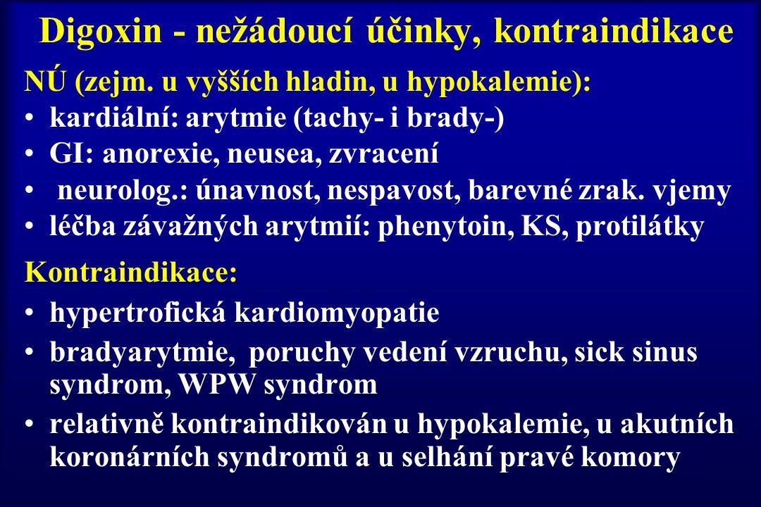 Digoxin - nežádoucí účinky, kontraindikace NÚ (zejm. u vyšších hladin, u hypokalemie): kardiální: arytmie (tachy- i brady-) GI: anorexie, neusea, zvra