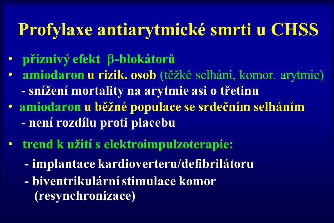 Profylaxe antiarytmické smrti u CHSS příznivý efekt  -blokátorů amiodaron u rizik. osob (těžké selhání, komor. arytmie) - snížení mortality na arytmi