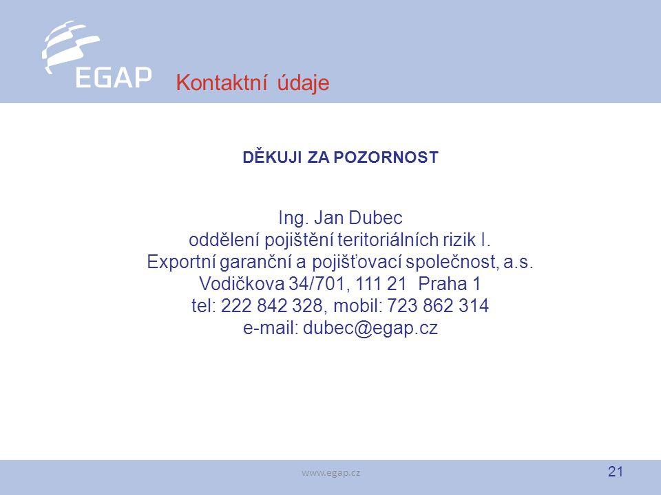 21 www.egap.cz Kontaktní údaje DĚKUJI ZA POZORNOST Ing. Jan Dubec oddělení pojištění teritoriálních rizik I. Exportní garanční a pojišťovací společnos