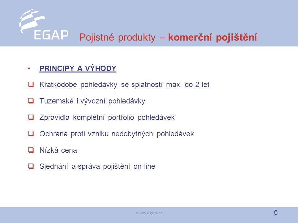 6 www.egap.cz Pojistné produkty – komerční pojištění PRINCIPY A VÝHODY  Krátkodobé pohledávky se splatností max. do 2 let  Tuzemské i vývozní pohled
