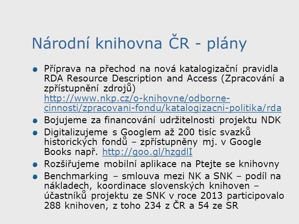 Národní knihovna ČR - plány Příprava na přechod na nová katalogizační pravidla RDA Resource Description and Access (Zpracování a zpřístupnění zdrojů) http://www.nkp.cz/o-knihovne/odborne- cinnosti/zpracovani-fondu/katalogizacni-politika/rda http://www.nkp.cz/o-knihovne/odborne- cinnosti/zpracovani-fondu/katalogizacni-politika/rda Bojujeme za financování udržitelnosti projektu NDK Digitalizujeme s Googlem až 200 tisíc svazků historických fondů – zpřístupněny mj.