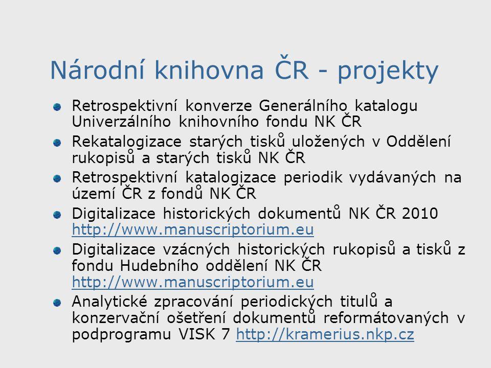 Zajištění provozu Jednotné informační brány v celonárodním měřítku http://www.jib.cz, http://info.jib.czhttp://www.jib.cz http://info.jib.cz Optimalizace SFX pro potřeby Jednotné informační brány a Centrálního portálu knihoven http://www.jib.cz, http://info.jib.cz http://www.jib.czhttp://info.jib.cz Multilicenční zpřístupnění českých elektronických informačních zdrojů http://visk.nkp.cz/VISK8A.htmhttp://visk.nkp.cz/VISK8A.htm Zajištění provozu a rozvoje oborových informačních bran v celonárodním měřítku pro obory knihovnictví a vědeckých informací a hudby http://www.kiv.jib.czhttp://www.kiv.jib.cz