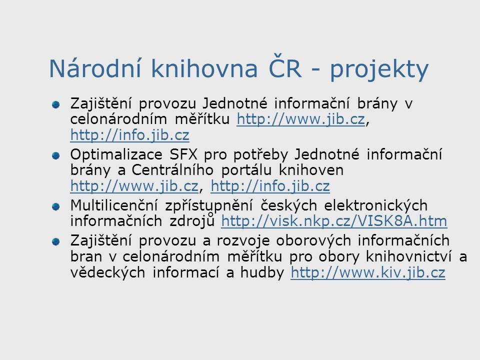 Národní knihovna ČR - projekty Vytvoření Národní digitální knihovny http://www.ndk.cz http://www.ndk.cz Češi jako čtenáři v roce 2013 České děti jako čtenáři v roce 2013 Spolupráce se společností Google Česko-slovenská spolupráce při akvizici dokumentů Opravdu je jich 29 a více informací např.