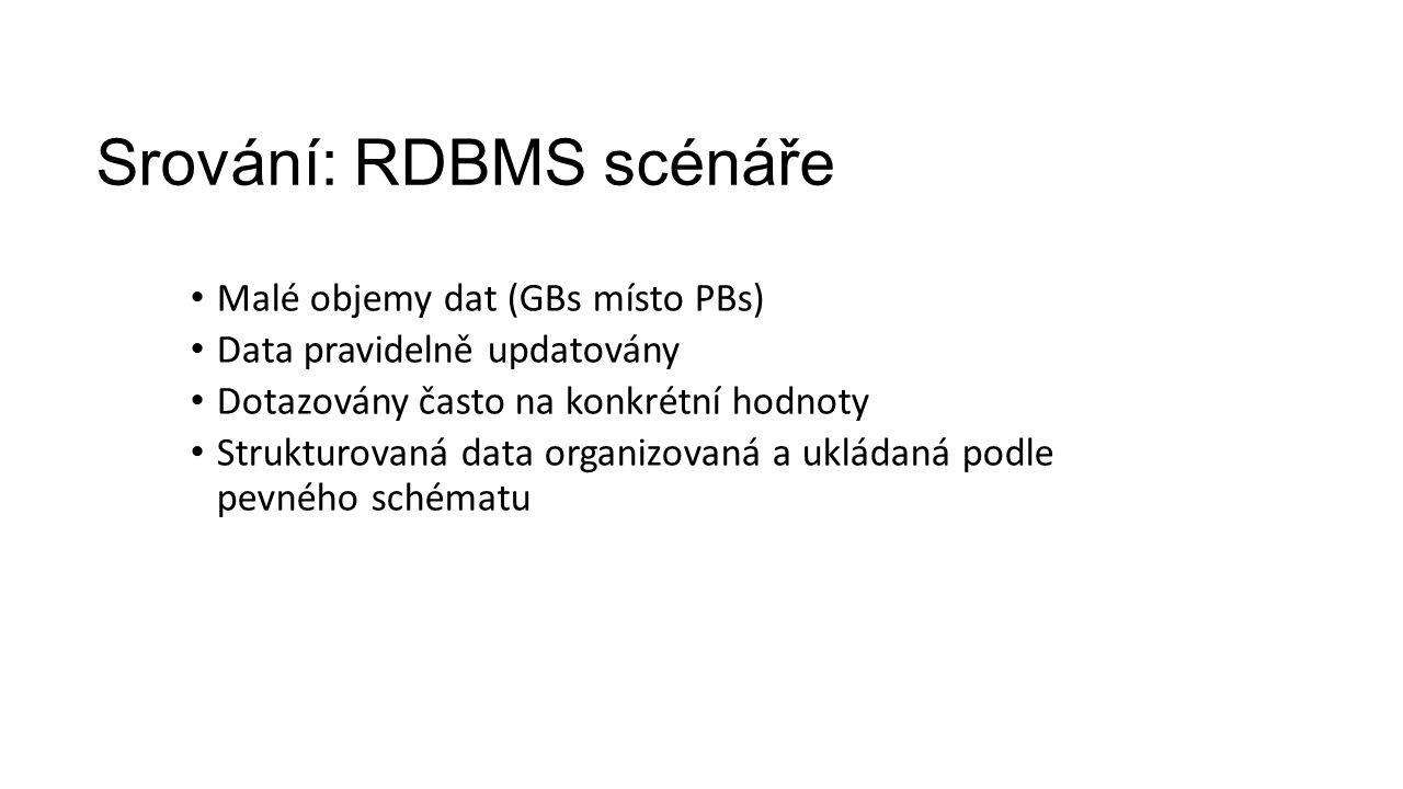 Srování: RDBMS scénáře Malé objemy dat (GBs místo PBs) Data pravidelně updatovány Dotazovány často na konkrétní hodnoty Strukturovaná data organizovan