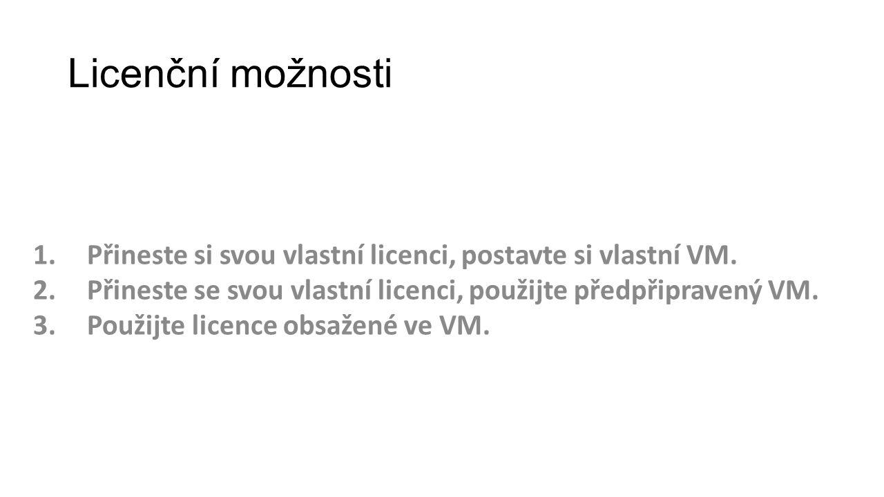 Licenční možnosti 1.Přineste si svou vlastní licenci, postavte si vlastní VM. 2.Přineste se svou vlastní licenci, použijte předpřipravený VM. 3.Použij