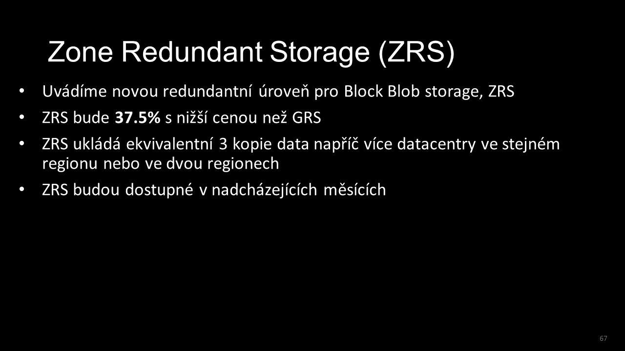 67 Zone Redundant Storage (ZRS) Uvádíme novou redundantní úroveň pro Block Blob storage, ZRS ZRS bude 37.5% s nižší cenou než GRS ZRS ukládá ekvivalen