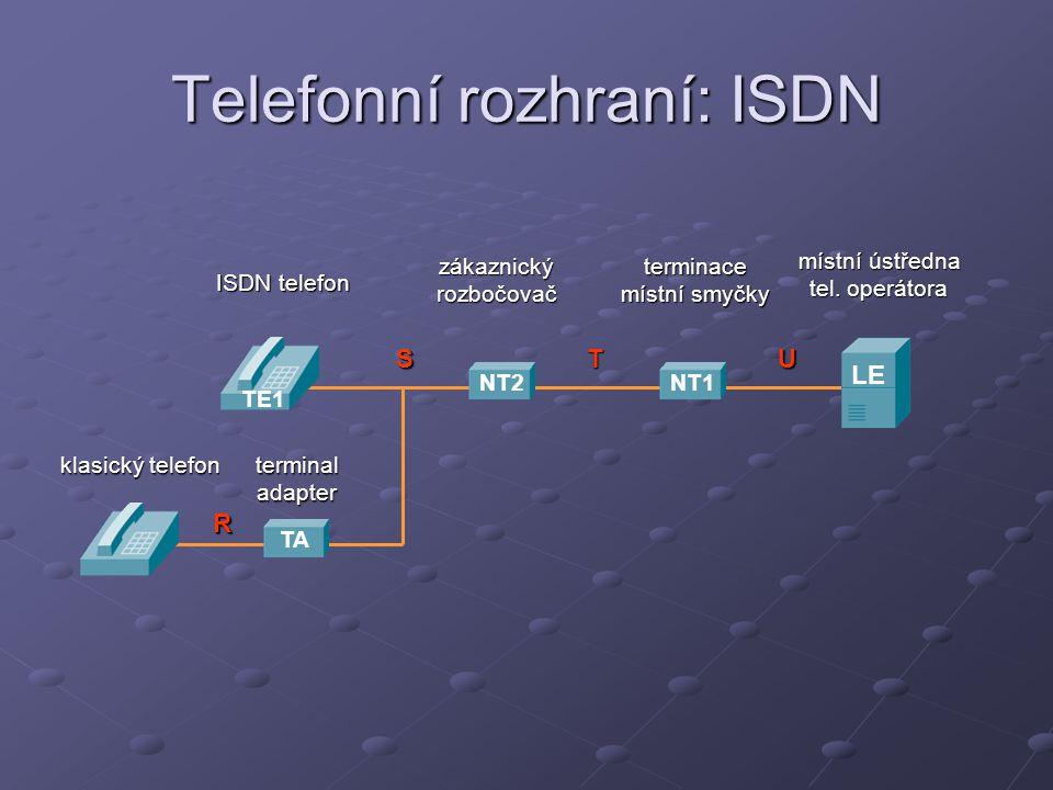 Telefonní rozhraní: ISDN místní ústředna tel. operátora terminace místní smyčky zákaznickýrozbočovač LE NT1NT2 TE1 ISDN telefon STU TA R klasický tele