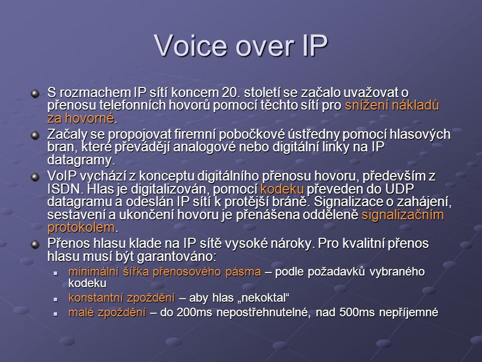 Voice over IP S rozmachem IP sítí koncem 20. století se začalo uvažovat o přenosu telefonních hovorů pomocí těchto sítí pro snížení nákladů za hovorné